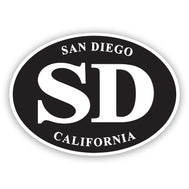 San Diego California sticker classic oval black background with white wording San Diego, SD, California. Sold by SDTrading.