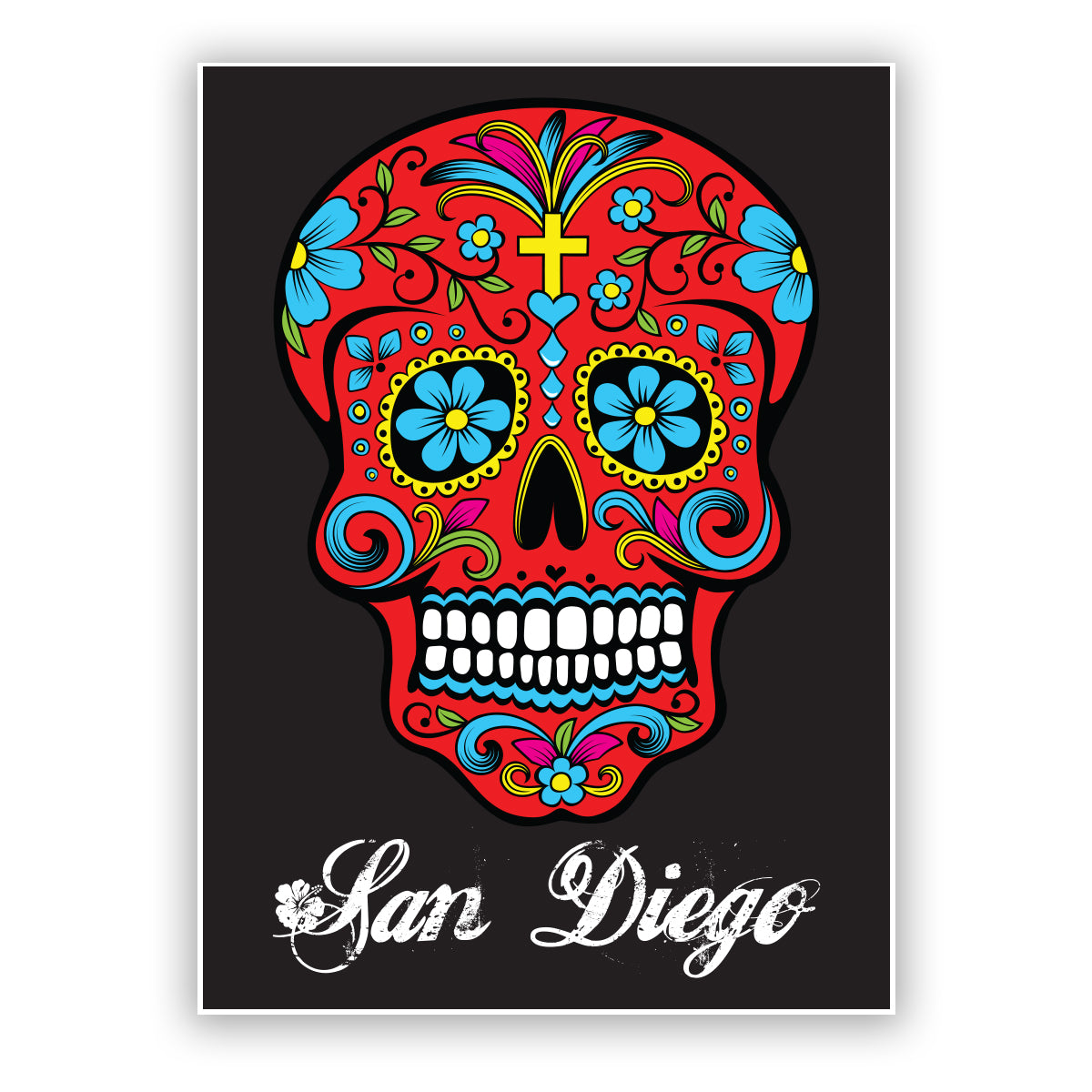 Sugar Skull Sticker San Diego California. Black background, red skull with yellow cross on forehead, blue flowers on eyes and more flower details all around. Cursive San Diego on the bottom. Sold by SDTrading Co.