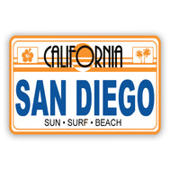 California San Diego Sticker featuring our classic car plates. Retro Cool Sticker for your laptop, water bottle, binder, wall, skateboard or any surface. Makes a great gift sold by local company SDTrading Co.