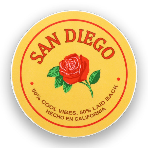 Mazapan Sticker of Mexican penut candy. Traditional Mazapan candy de la rosa now available in a sticker. Round shape with cream color background, San Diego in red bold letters with a red rose and green stem with green leaves and thorns. Wording 50% Cool Vibes, 50% Laid back. Hecho en California. Sold by SDTrading Co.
