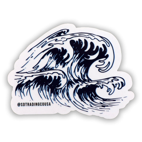 Wave sticker features crashing ocean waves of the west coast pacific ocean. Surfer enthusiastic, beach goers, and nature lovers novelty stickers that are fun for applying on water bottles, notebooks, or any surface. Sold by SDTrading Co.