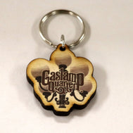Wooden Cutout keychain of the iconic gaslamps in Gaslamp Quarter with the GQ Logo burned in the middle