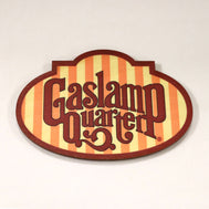 Wooden cutout magnet of the iconic Gaslamp sign on the arch on 5th avenue
