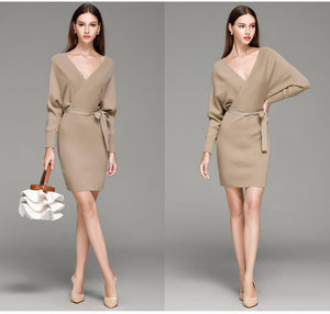 Elegant Sweater Dress With Belt