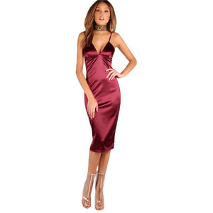 Satin Burgundy Dress