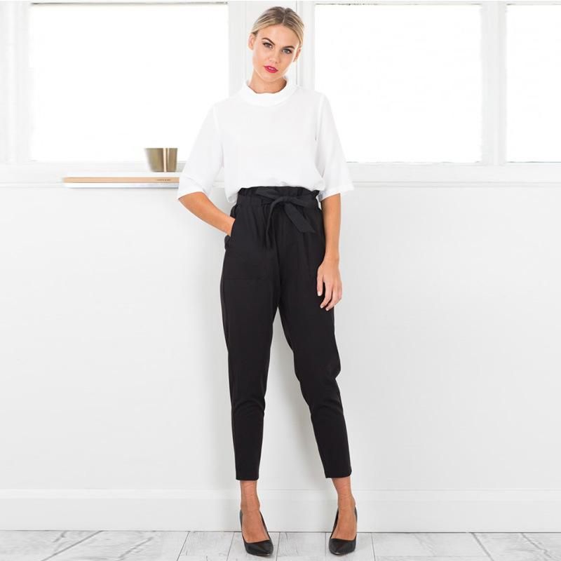reasonable price attractive style attractivedesigns High Waist Bow Tie Pants