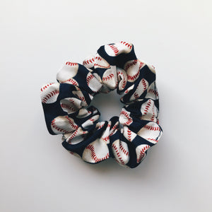 Dark Blue Baseball Scrunchie