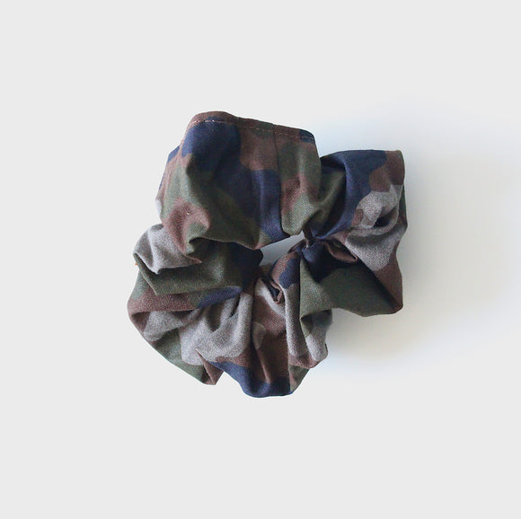 Green Camouflage Scrunchie