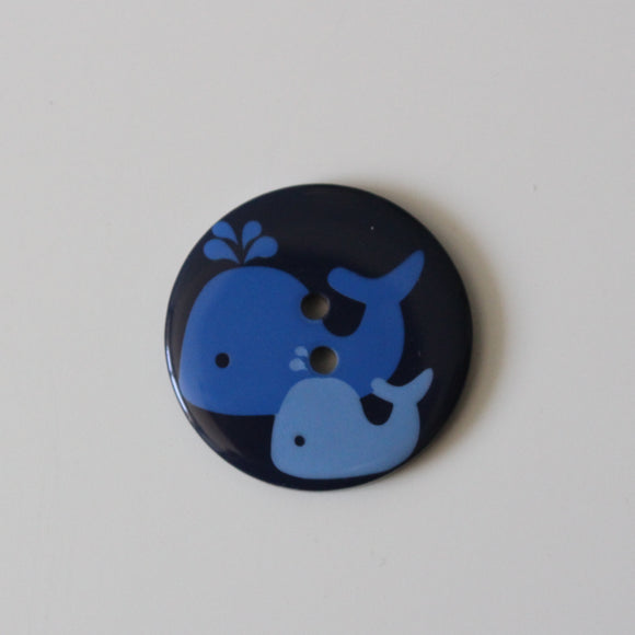 Round Blue Whale Buttons