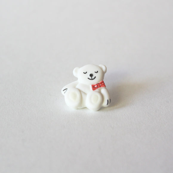 White Bear with Red Bow Buttons