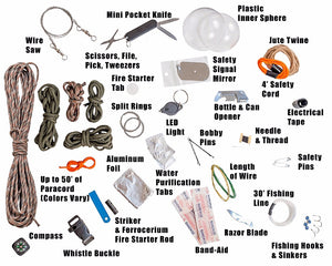 Herrlof, 45 Piece Best Paracord Survival Kit Grenade. - Herrlof