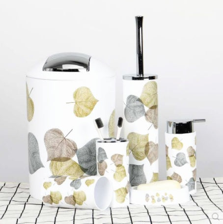 6 Pcs Printed Bathroom Accessory Set-Petals