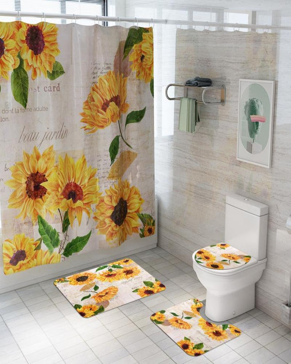 4 PCs Shower Curtain anti slip Mat set-SC04