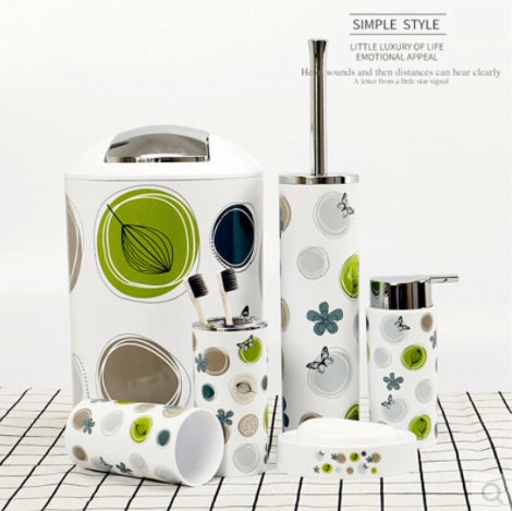 6 Pcs Printed Bathroom Accessory Set-Coconut