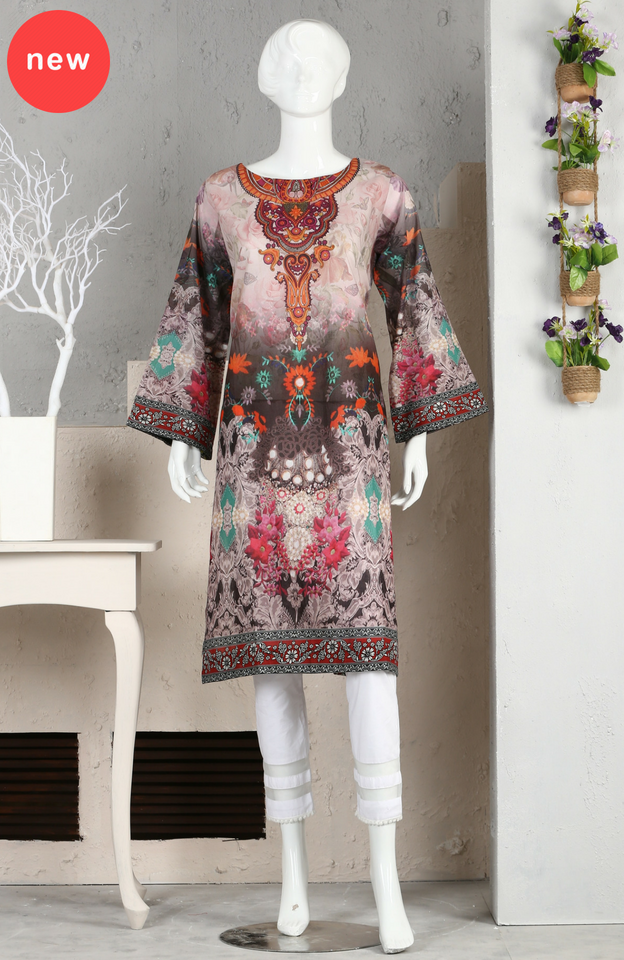 LDS - 09 Digital Printed Kurti Unstitched 1614 (1 PC) Grey Orange