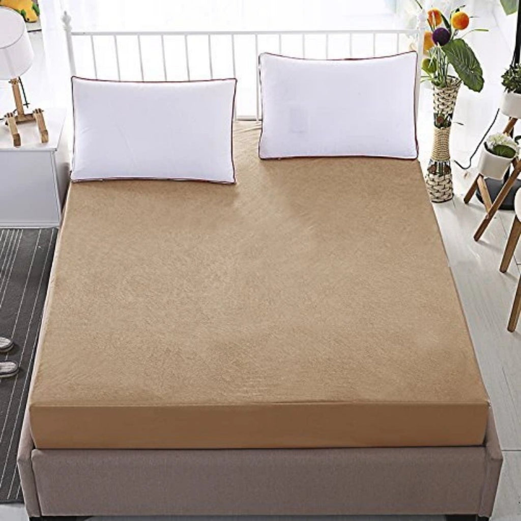 TERRY COTTON WATERPROOF MATTRESS PROTECTOR-BROWN