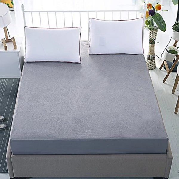 TERRY COTTON WATERPROOF MATTRESS PROTECTOR -  GREY