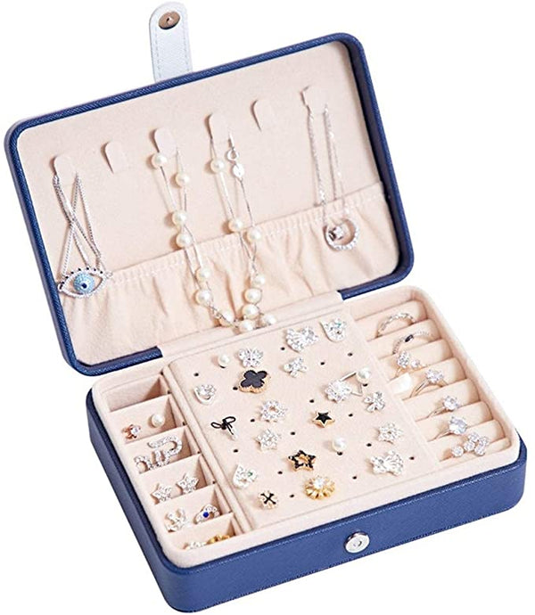 Multi-Function Portable Plate (3553)  Jewelry Box Earrings Ring  - DARK BLUE