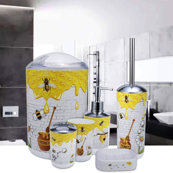 6 Pcs Printed Bathroom Accessory Set-Honey Bee