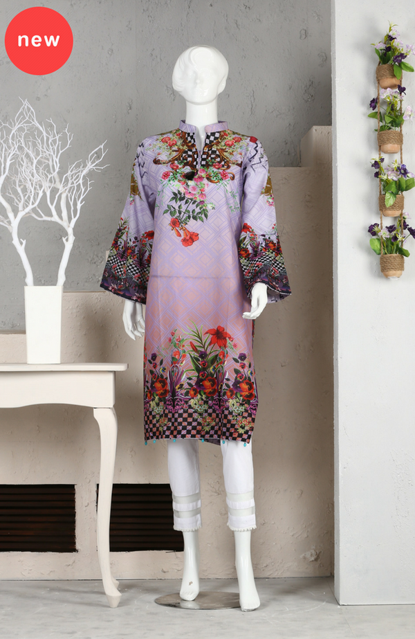 LDS - 05 Digital Printed Kurti Unstitched 1610 (1 PC) Lilac