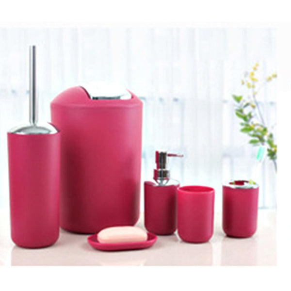 6 Pcs Plastic Bathroom Accessory Set(3700)-Red
