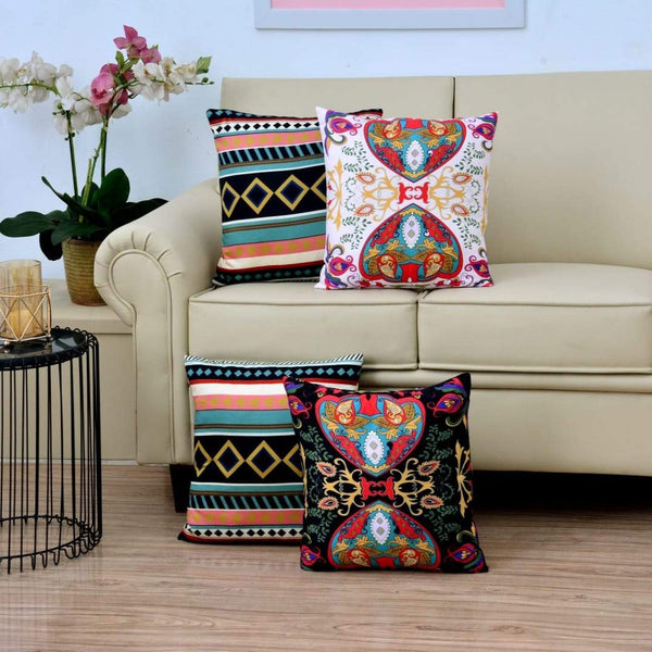 Digital Printed Satin Cushions Assorted 4PCs-Victoria