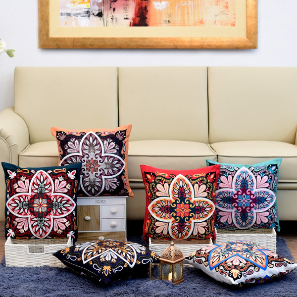 Digital Printed Satin Cushions Assorted 6PCs-Turkish Style