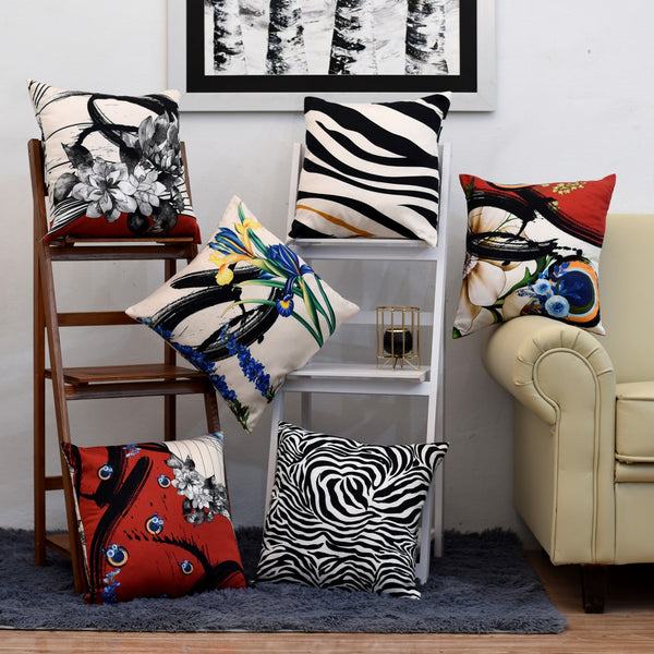 Digital Printed Satin Cushions Assorted 6PCs-Abstract Flow
