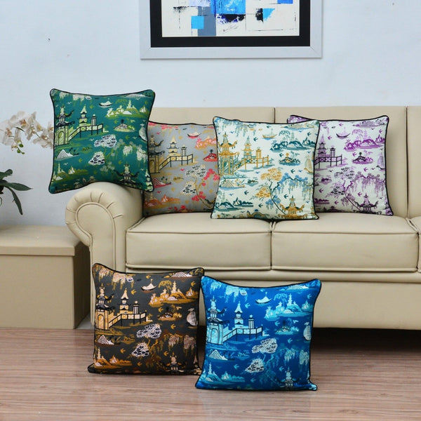 Digital Printed Satin Cushions Assorted 6PCs-Chinese Hut