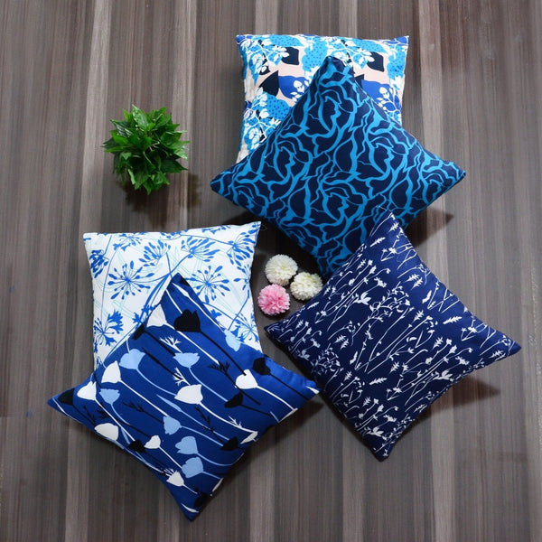 Digital Printed Satin Cushions Assorted 5PCs-Blue Waves