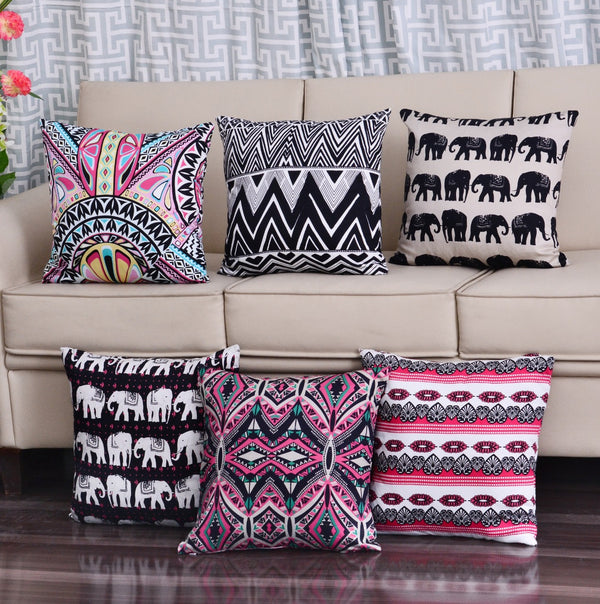 Digital Printed Satin Cushions Assorted 6PCs-Deko Art