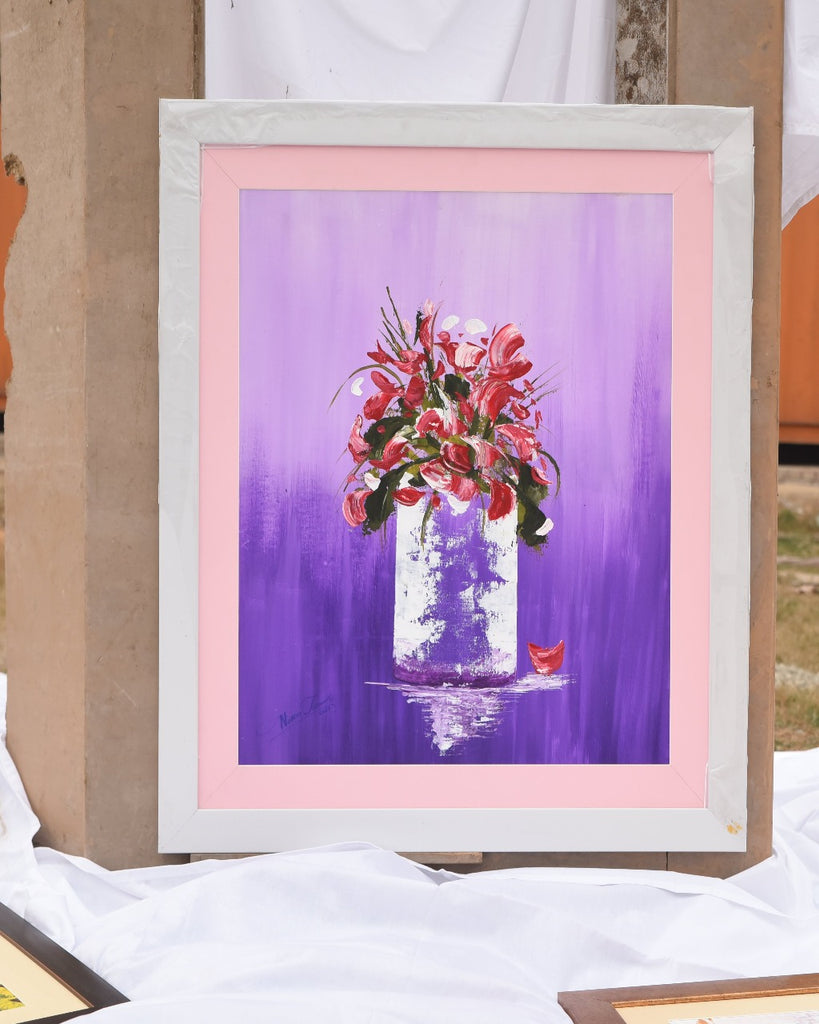 Handmade Abstract Art Painting-Flower With Vase