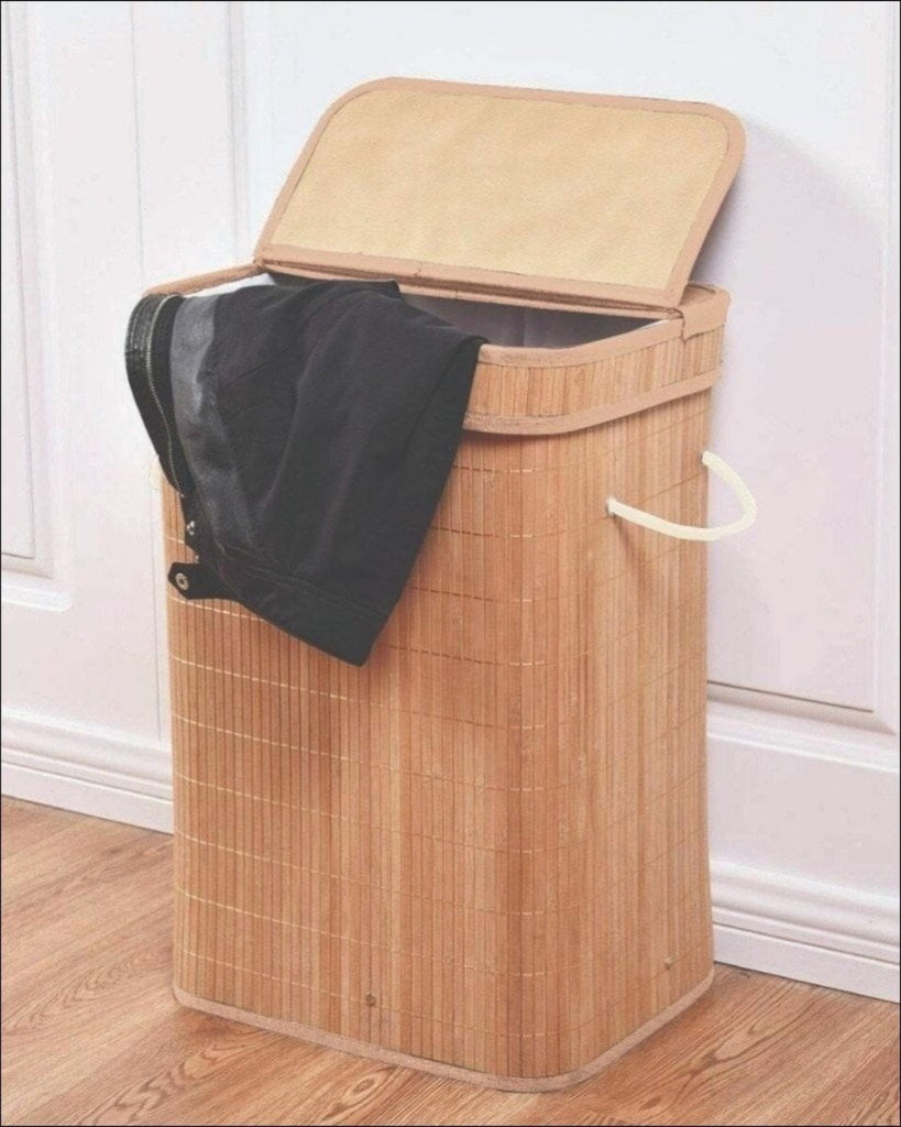 2 Compartments Bamboo Laundry Basket (1930) - Tan