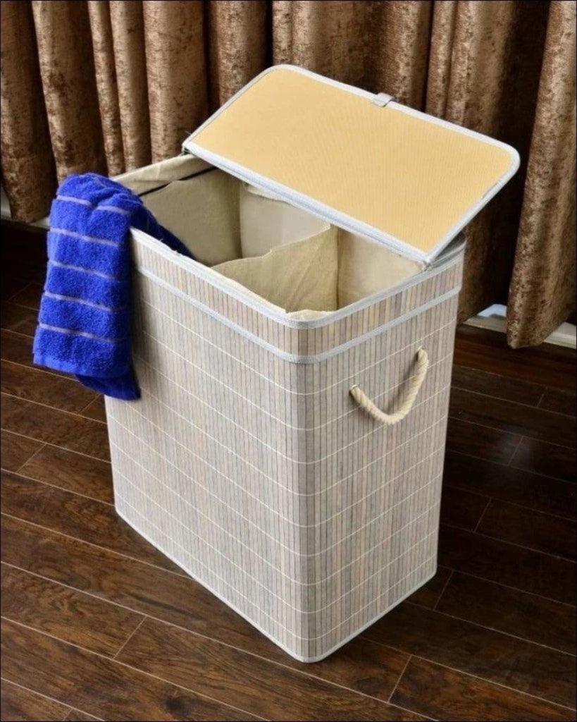 2 Compartments Bamboo Laundry Basket (1929) -Wood Grey