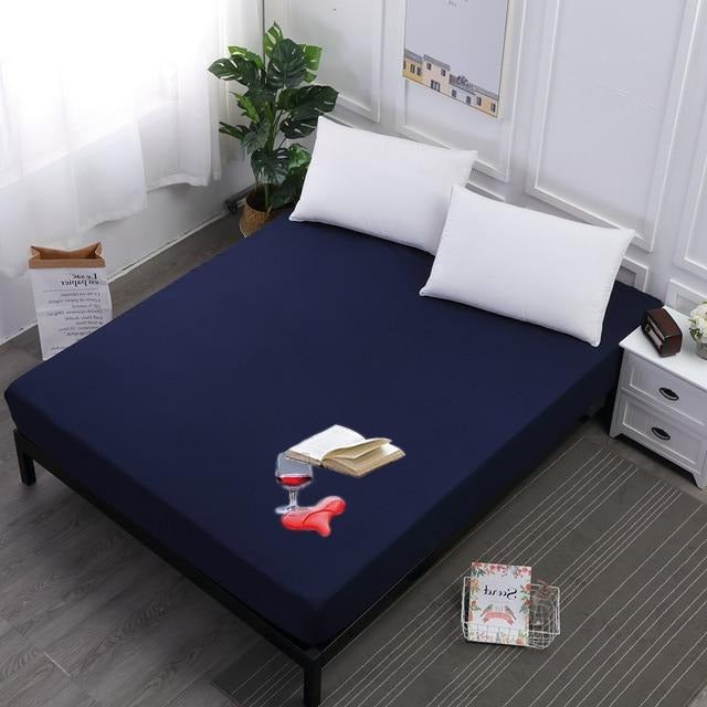 TERRY COTTON WATERPROOF MATTRESS PROTECTOR -  NAVY BLUE