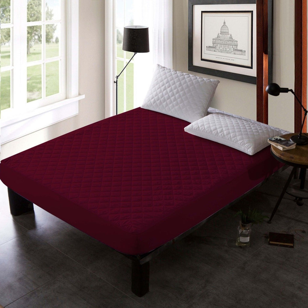 QUILTED WATERPROOF MATTRESS PROTECTOR -Burgundy