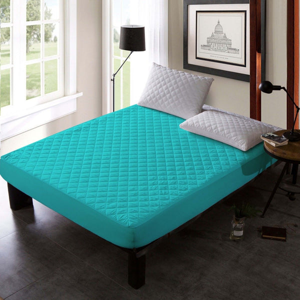 QUILTED WATERPROOF MATTRESS PROTECTOR -Turquoise