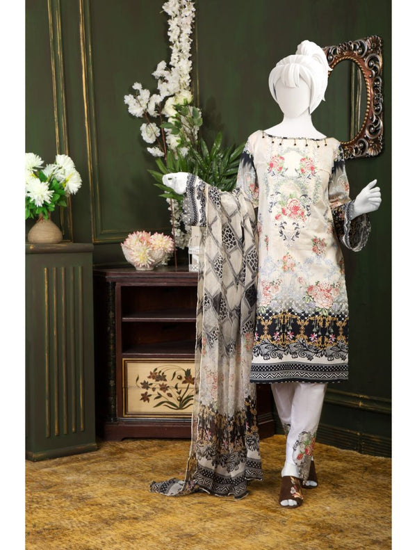 3 PCs Un-Stitched Embroidered Lawn Suit(2239) - AL 00805