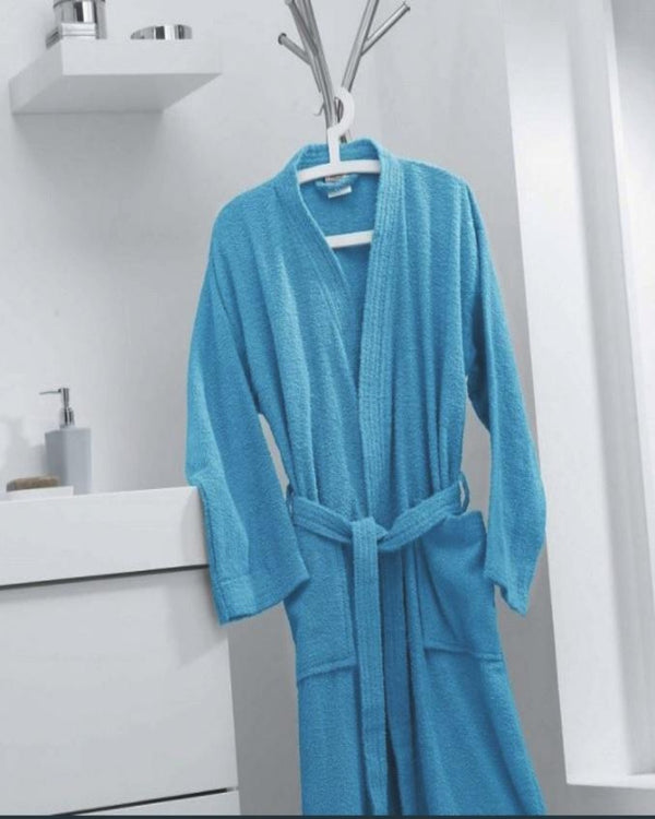 COTTON BATHROBE- PETROL BLUE