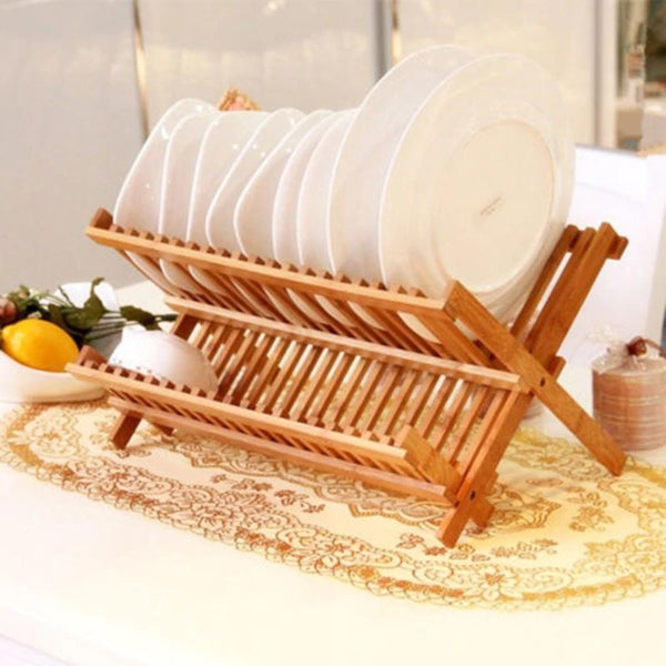 Folding Bamboo Wooden (3757) - Dish Rack