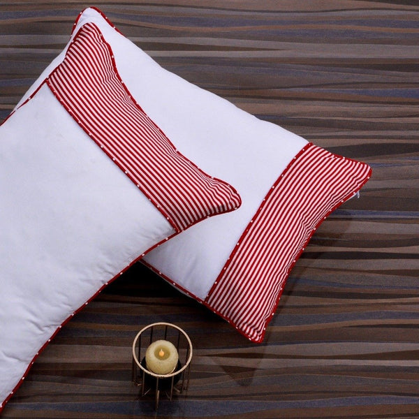 White Pillows Pair(3330) With-Red Stripes