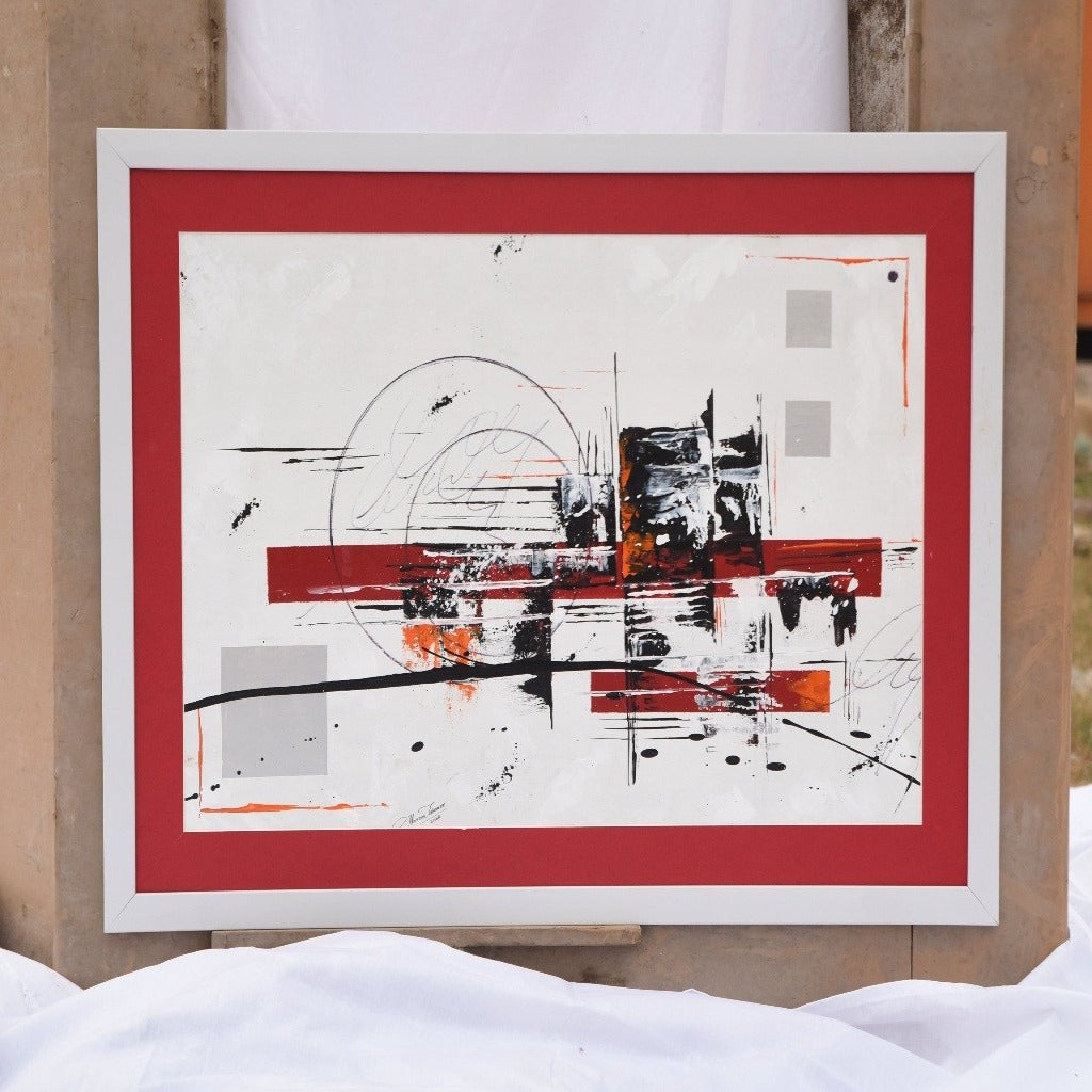 Handmade Abstract Art Painting- Red & White