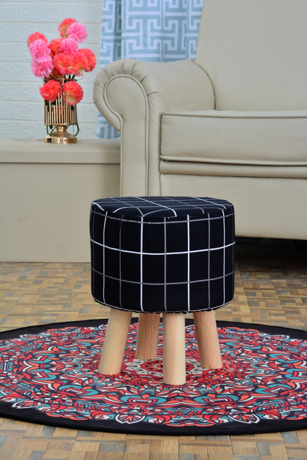 30x32 cm Ottoman Round Stool Wooden(3163) ST-BLACK CHECK