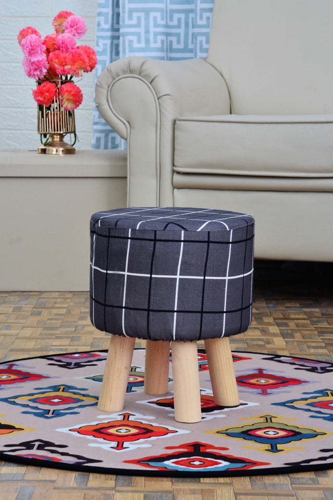 30x32 cm Ottoman Round Stool Wooden(3163) ST-GREY CHECK