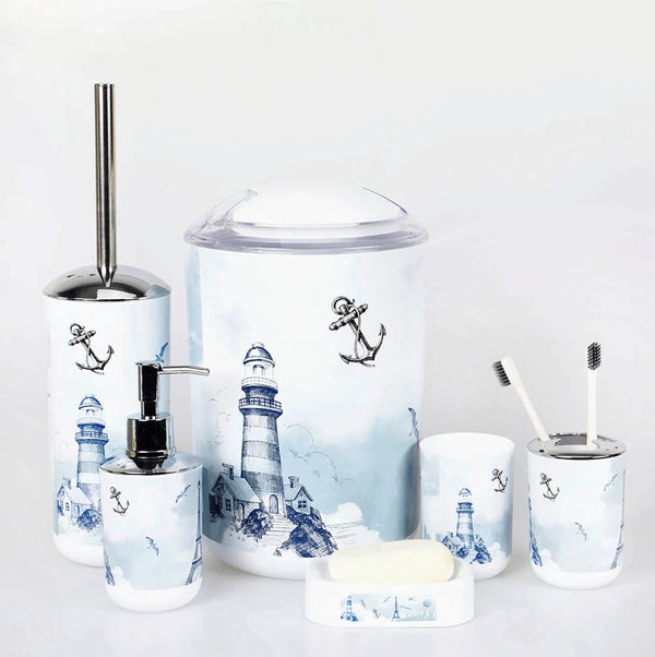 6 Pcs Printed Bathroom Accessory Set-Tower