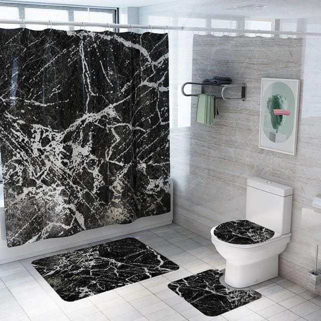 4 PCs Shower Curtain (3570 ) anti slip Mat set-SC35