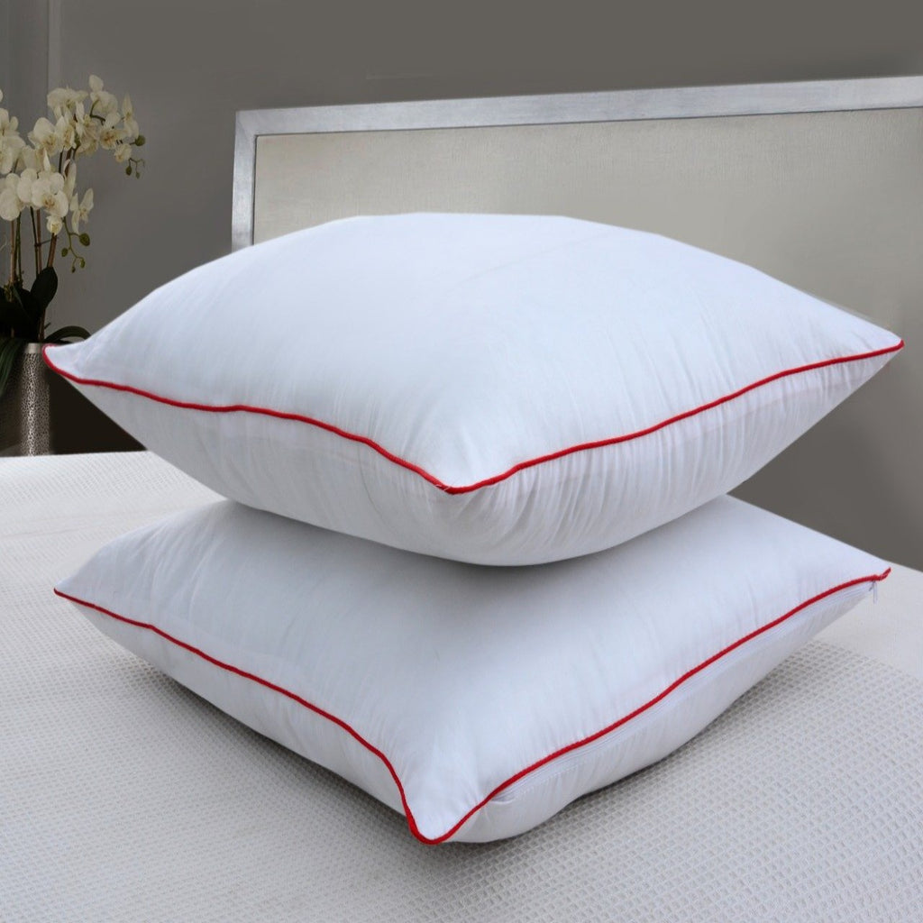Red Single Piping Filled Pillows- Pack Of 2