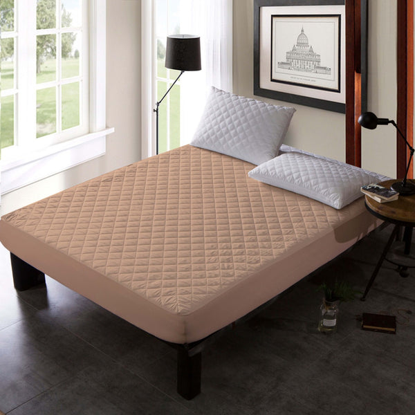 QUILTED WATERPROOF MATTRESS PROTECTOR - BEIGE