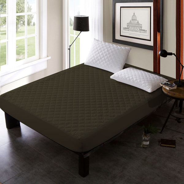 QUILTED WATERPROOF MATTRESS PROTECTOR -BROWN