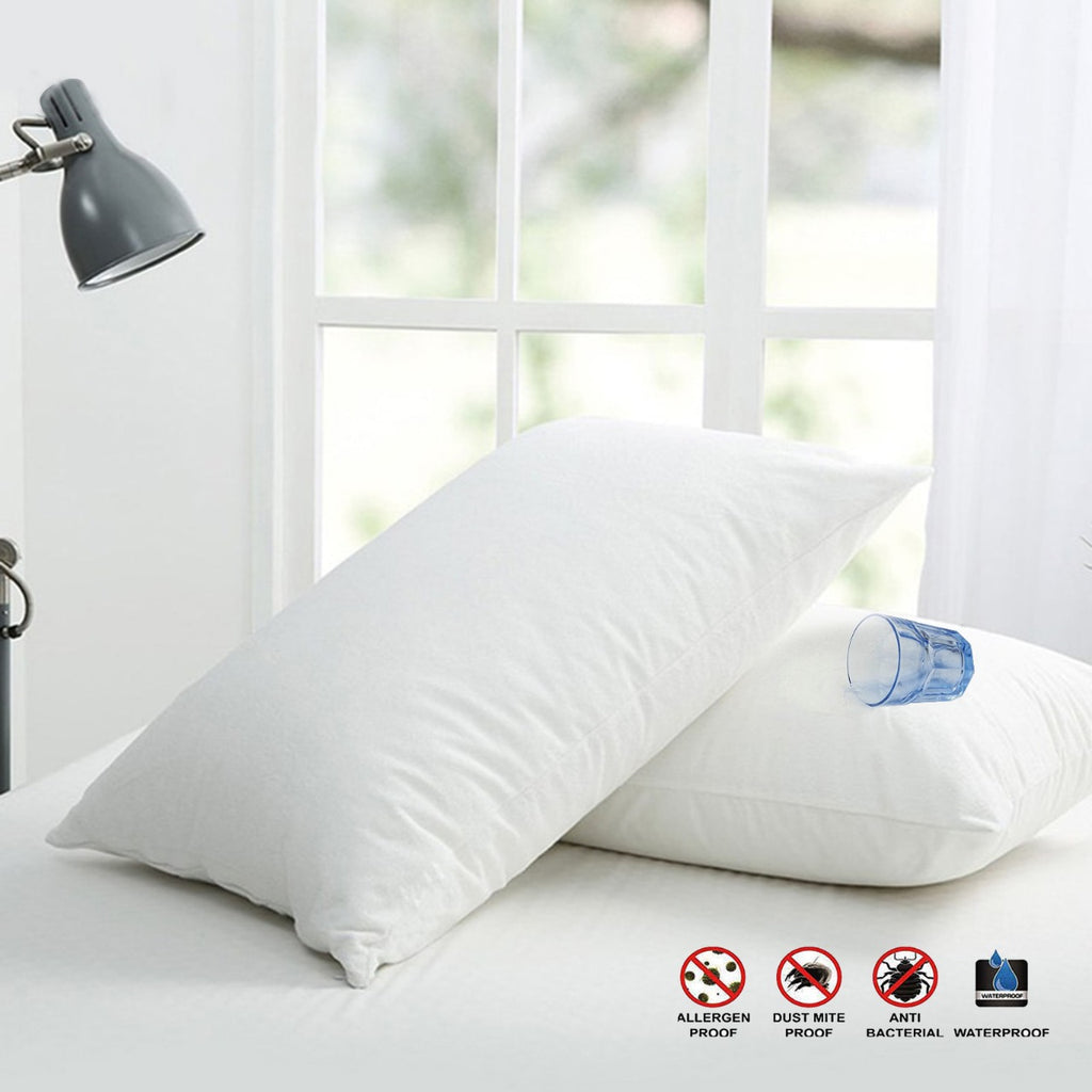 Terry Waterproof Pillow Protector-(3652)White